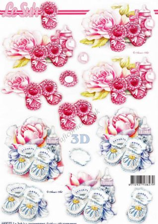 Baby Booties In Pink & Blue With Bottles & Flowers Die Cut 3d Decoupage Sheet From Le Suh
